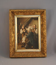 CHARLIE BOSTON - ANTIQUE OIL PAINTING PUB MUSICIAN & SMOKERS DRINKERS - 1895