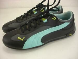 Women's 8 M Puma Fast Cat Black Blue Chartreuse Leather Shoes Sneakers 304010-10