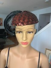 Vintage 40's - 50's Macy's Department Store Hat Box and Hat with black feathers