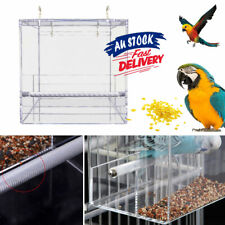 Seed Feeding No Mess Bird Cage Acrylic Automatic   Container Box Parrot Feeder