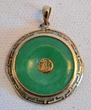 1920s Chinese 14K Gold and Jade Pendant