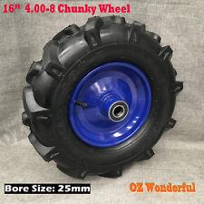 "16"" 25mm Bore 4.00-8 Chunky Pneumatic Wheels Trolley Wheelbarrow Tyres Wheel"