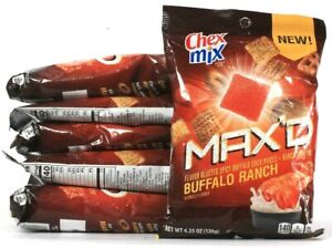6 Bags Chex Mix 4.25 Oz Max'D Buffalo Ranch Spicy & Ranch Chex Mix BB 9/23/21