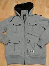 Men's Billabong Hooded Zipper front Jacket, Gray, size medium EUC soft