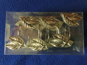 Shower Hooks SILVER LEAF  Mainstays Shower Curtain Hooks Silver Leaves 12 Pc NIP