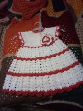 2T Acrylic White and Burnt Orange Dress - Crochet