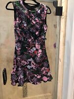 New Saloni Dress Dina Black  Floral Print Silk Size Small 4 Ruffle Mini