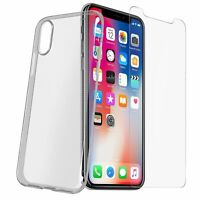 Coque Transparent +Film Verre Trempé Pour Apple IPHONE X 10 Étui TPU