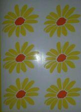 6 Sunflowers 3 x 3inch yellow & orange car graphic vinyl sticker decals wall art