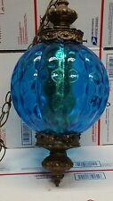 VTG Mid-Century blue Optic Swag Lamp Hanging Light Fixture Vintage Glass Globe