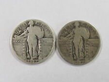 Lot of 2 - 1927 Standing Liberty Quarters - 90% Silver - Circulated - FAST SHIP!