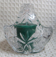 """Glass Basket Votive Holder with Handle, Heavy, 4.5"""" Tall, Candle not Included"""