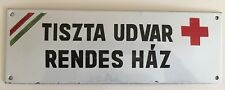 Authentic Vintage Budapest Hungary Enameled Red Cross Sign