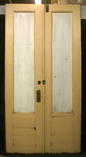 "48""x95"" Pair Antique Store Exterior Oak Wood Double Entry Door Glass Lite Window"