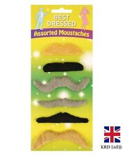 STICK ON FALSE MOUSTACHES Classic Moustache Vintage Fancy Dress Up Hen Party UK