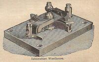 A0431 Interruttore Woodhouse - Stampa Antica del 1907 - Xilografia