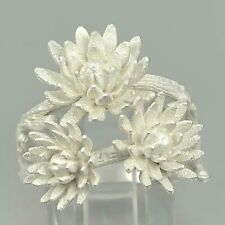 925 Sterling Silver Ring Jewelry Blooming Lotus Sand Spray Design Size 7