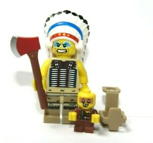 LEGO Indian Chief Minifigure Axe & Baby With Carrier  Western Tribal Apache