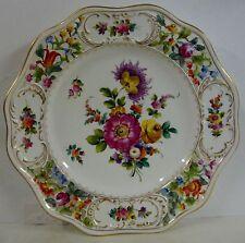 "Carl Thieme C6T1 DRESDEN FLOWERS-10-1/8"" Dinner Plate PIERCED RIM,GOLD TRIM"