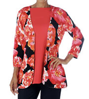 NEW Isaac Mizrahi Live! Floral Curved Hem Cardigan Sweater Size Large 1J