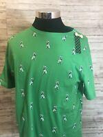 NWT Men's Denim & Flower Puppy Print All Over Green Crewneck T-shirt Large N12