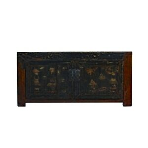Oriental Chinoiseries Distressed Flower Black Low TV Console Cabinet cs5942