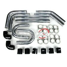 "BLACK 3.00"" UNIVERSAL TURBO ALUMINUM INTERCOOLER PIPING PIPE KIT+SILICONE+CLAMP"