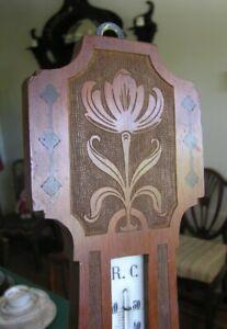 Beautiful Arts & Crafts Barometer ~ Carved and Inlaid Red Mahogany
