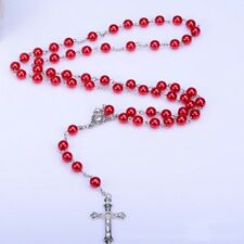 New Gift Jewelry Colors Imitated Pearl Cross Long Pendant Necklace Rosary Beads
