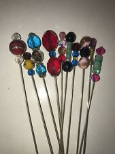 Victorian Inspired Glass Beaded Stick Pin Hat Pin Lot Of 10 Pieces Lot #107