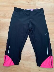 Small Women's Nike DRI-FIT Running 3/4 Cropped Capri Leggings Pants UK 8-10 99p