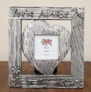 Sienna Pewter Photo Frame metal Detail Border Heart Love tabletop