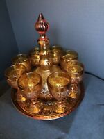 Classic Tiara Indiana Glass Amber Sandwich Tray Goblets Decanter Wine Set