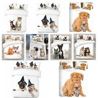 3D Cat & Dog Design Photo Digital Duvet Quilt Cover With Pillowcases UK Made