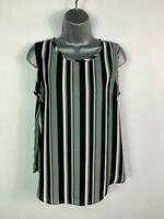 BNWT WOMENS LINEA GREY BLACK WHITE STRIPE CASUAL SLEEVELESS BLOUSE SIZE UK 10