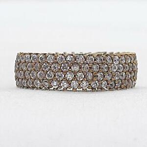 Deco 1.50ctw Diamond Cut White Sapphire 14K Yellow Gold Silver Ring Size 9 6.7g