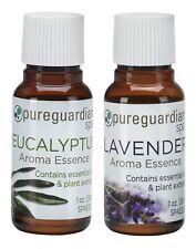 New 2-Pack PureGuardian Spa Lavender & Eucalyptus Aroma Essences 1 oz (30 ml)