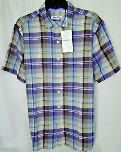 Tommy Bahama  La Paz Plaid S/S Linen Poly in Sparkling Grape MSRP $125 NWT - M