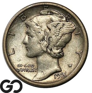 1921-D Mercury Dime, Sought After Choice XF+ Key Date