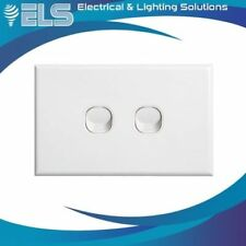 Slim Line 2 Gang Double Light Switch White Slimline Distributed by ELS Bankstown