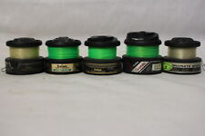 Lot of 5 Vintage GRAPHITE SPOOLS By Daiwa + Fishing Line (Green/Clear)