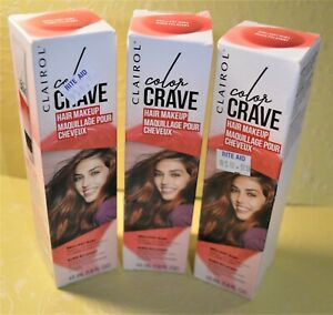 3 Clairol Color Crave Hair Makeup Brilliant Ruby wash out with shampoo 1.5 fl oz