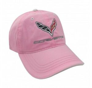 C7 Corvette Pink UNSTRUCTURED Cotton Twill Hat Embroidered Logo Licensed Chevy