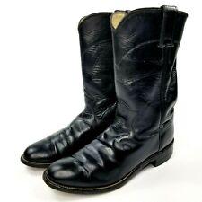Justin Women's Roper Western Boots Sz 7 B Core Black Leather Cowgirl L3703 Euc