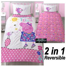 PEPPA PIG HAPPY SINGLE PANEL DUVET COVER BED SET NEW 2 in 1 DESIGNS