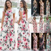 UK Womens Floral Maxi Sundress Long Wrap Dress Holiday Beach Ladies Dress Summer