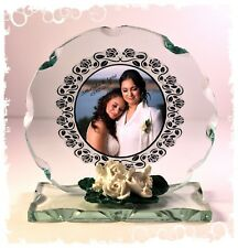 Mrs & Mrs Wedding crystal Cut glass Plaque personalised gift  #8