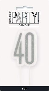 UNIQUE - BLACK AND SILVER AGE 40 - 40TH BIRTHDAY CANDLE -