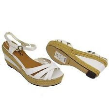 STRAPPY HESSIAN WHITE DENIM WEDGES SUMMER ANKE-STRAP SANDALS SHOES SIZE 3