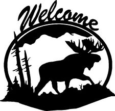 "Moose Welcome Wildlife Vinyl Decals Stickers (11"" x 11"")"